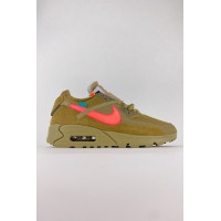 Мужски кроссовки Off White x Nike Air Max 90 Suede Brown Pink